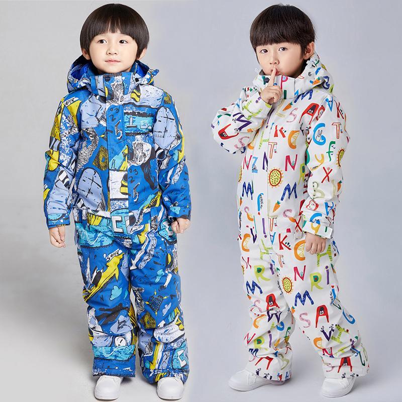 2020 Inverno Quente de One-Peça Ski Ski Ski Boy Hoodie Crianças Macacões Impermeáveis Jumpsuits Crianças Fleece Bebê Snow Set Dos Desenhos Animados Roupas Z1128