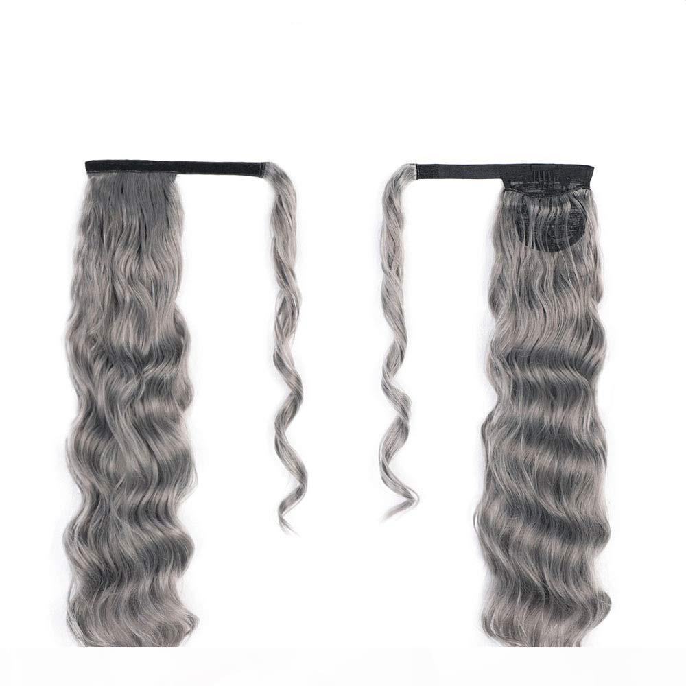 Пользовательские натуральные вьющиеся волнистые серые Ungeo Bun Poep Pony Caven Hair Pone Work Over Clip с двумя расчески Easy Ponytail седые наращивания волос