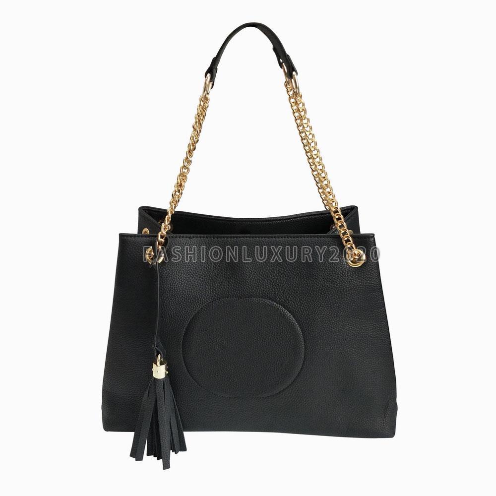 Frankreich Mode Quaste Umhängetaschen Black PU-Leder Gold Kette Taschen Totes Crossbody Taschen Reine Farbe Weibliche Frauen Handtaschen Rucksack