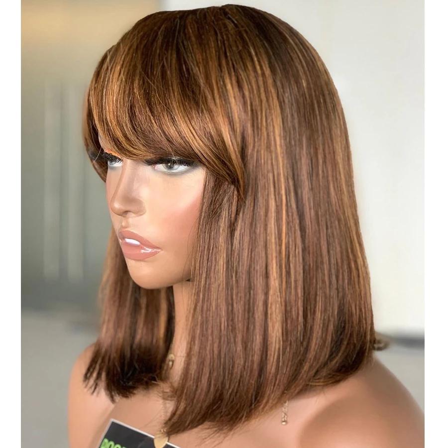 Resalte las pelucas delanteras de encaje de bob cortas con flequillo Pelucas de cabello humano de encaje con flecos de 180Desticidad para mujer Nudos blanqueados