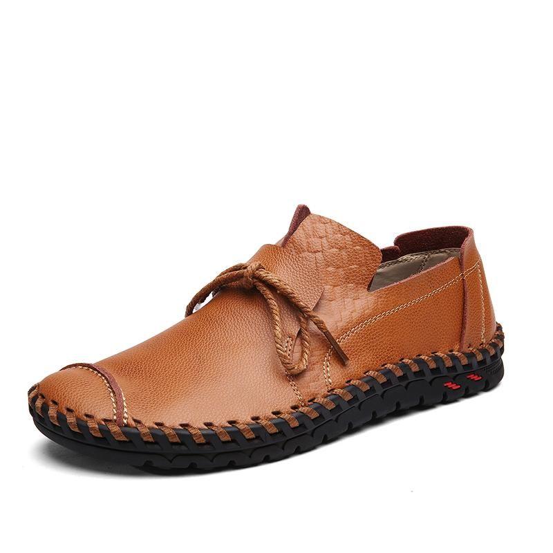 2019 Spring en cuir véritable homme d'affaires chaussures élégantes Bureau confortables couture main Hommes plat Chaussures Hommes Casual Lace Up