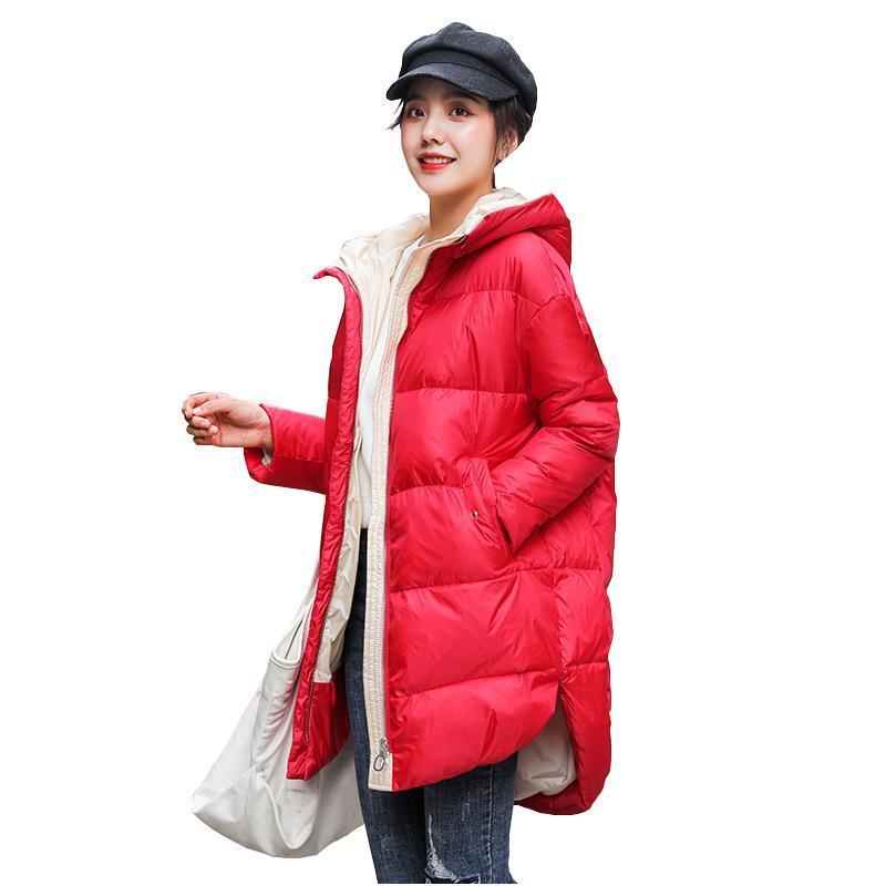 2020 neue Frühlingswinterfrauen arbeiten mit Kapuze lange Daunenjacken unten dicke Frauen lange warme Kontrastfarbene Mäntel Kleidung Jacken