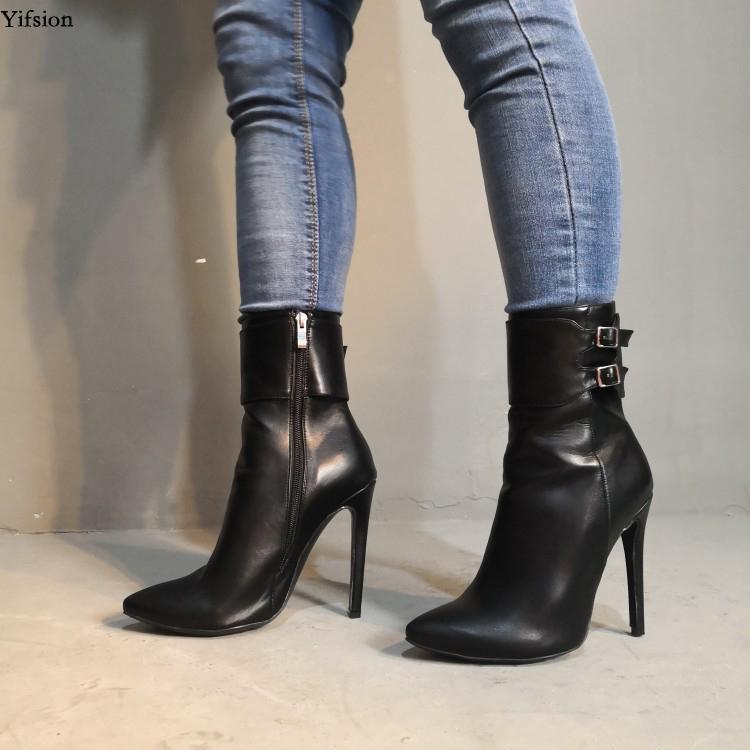Olomm Frauen Schnalle Strap Knöchelstiefel Stiletto High Heels Stiefel Zeige Zehe Wunderschöne Black Party Schuhe Frauen Plus US Größe 5-15