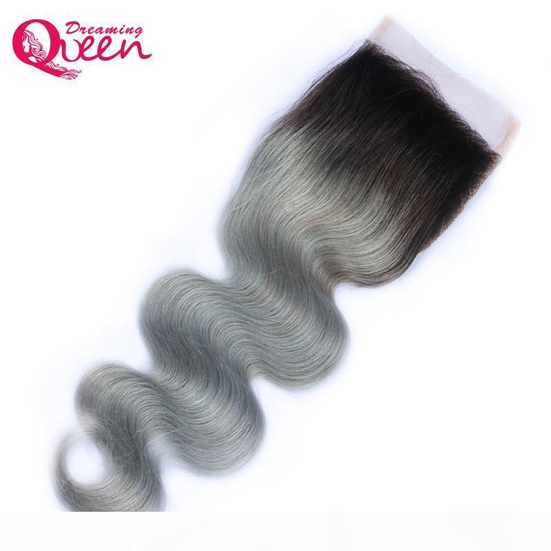 T1B серый цвет кузовной волна кружева закрытие бразильский девственница человеческие волосы 1b серый 4x4 кружева закрытие натуральные волосы оммре кружевное закрытие