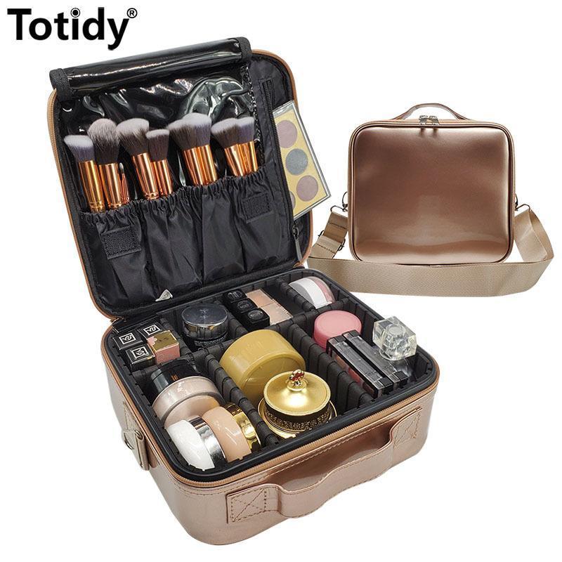 Kadınlar Gül Altın Profesyonel Makyaj Durumda Mini PU Deri Kozmetik Çantası kadın Taşınabilir Seyahat Makyaj Fırça Güzellik Bavul