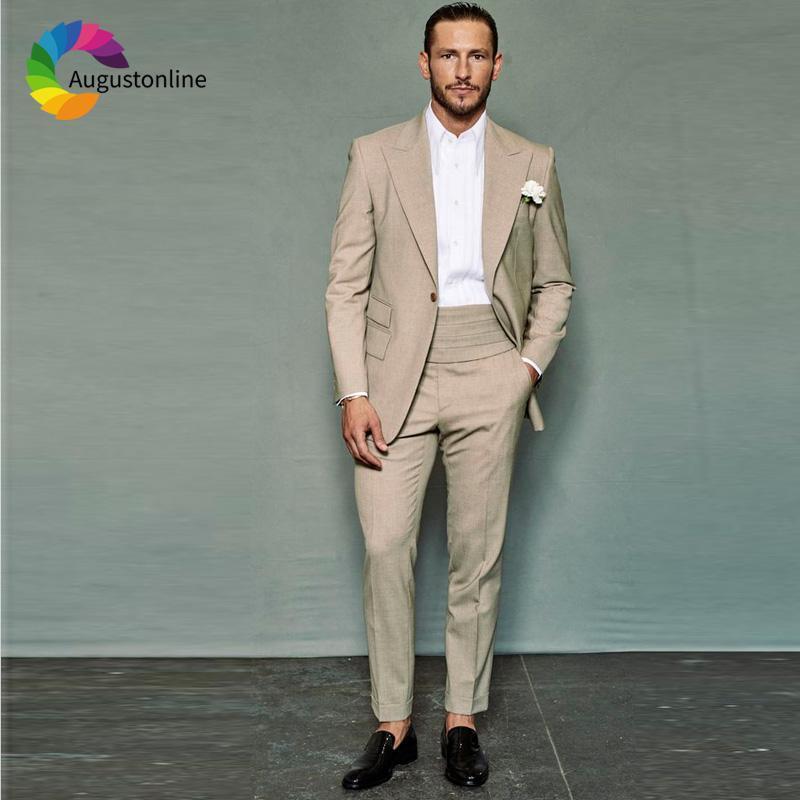 Trajes de color caqui de los hombres para la boda Slim Fit novio esmoquin padrinos de boda Traje 2 piezas (chaqueta + pantalones) Blazer mejor hombre del traje del Hombre Mariage