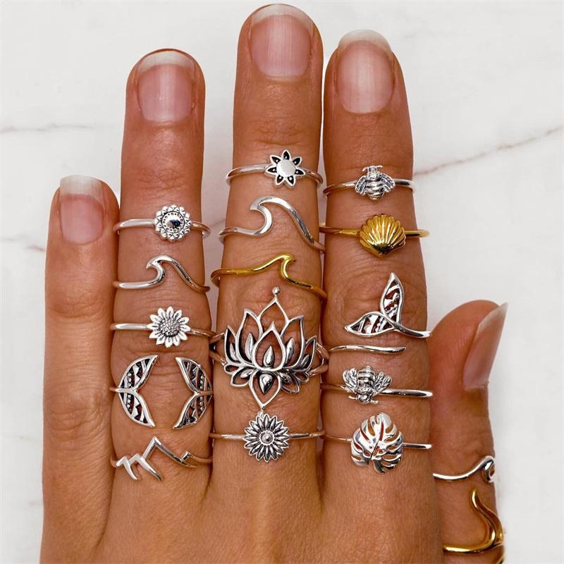 15 Pcs/Set Women Classic Rings Lotus Fishtail Leaf Sun Wave Bee Shell Finger Ring Set Party Charm Jewelry Gift Accessories