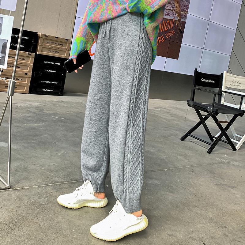 2020 Spor ve Eğlence Pantolon Kadın Sonbahar Kadın Büküm Örgü Pantolon