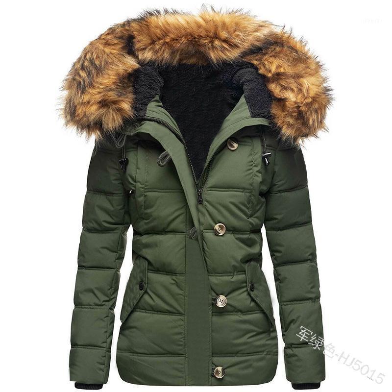 Femmes Down Parkas Swqzvt Femmes Collier de fourrure à capuche Slim Couleur Solid Solid Hiver Manteau 2021 Vêtements de dames chaudes1