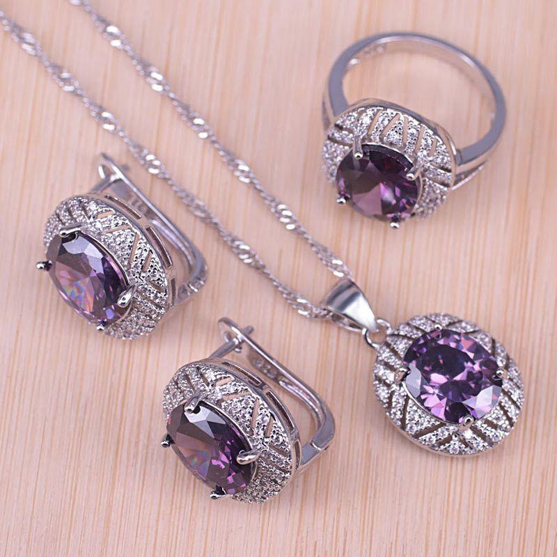 Risenj prata cor jóias para casamento roxo cristal branco cúbico zirconia aro brincos anel colar conjunto para mulheres 201125