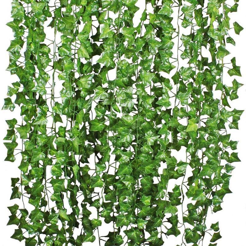 100 unids hoja 1 pieza 2.4m decoración para el hogar artificial Ivy hoja guirnalda plantas vid falso follaje flores enredaderas verde hiedra corona