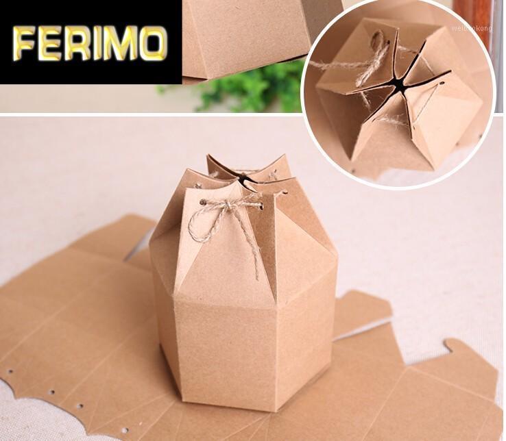 Подарочная упаковка 20 шт. / Лот 2 Размеры Маленькие Крафт Картонные коробки, Крафт-бумажные коробки для подарка, гексагональная коробка упаковки коричневые конфеты1