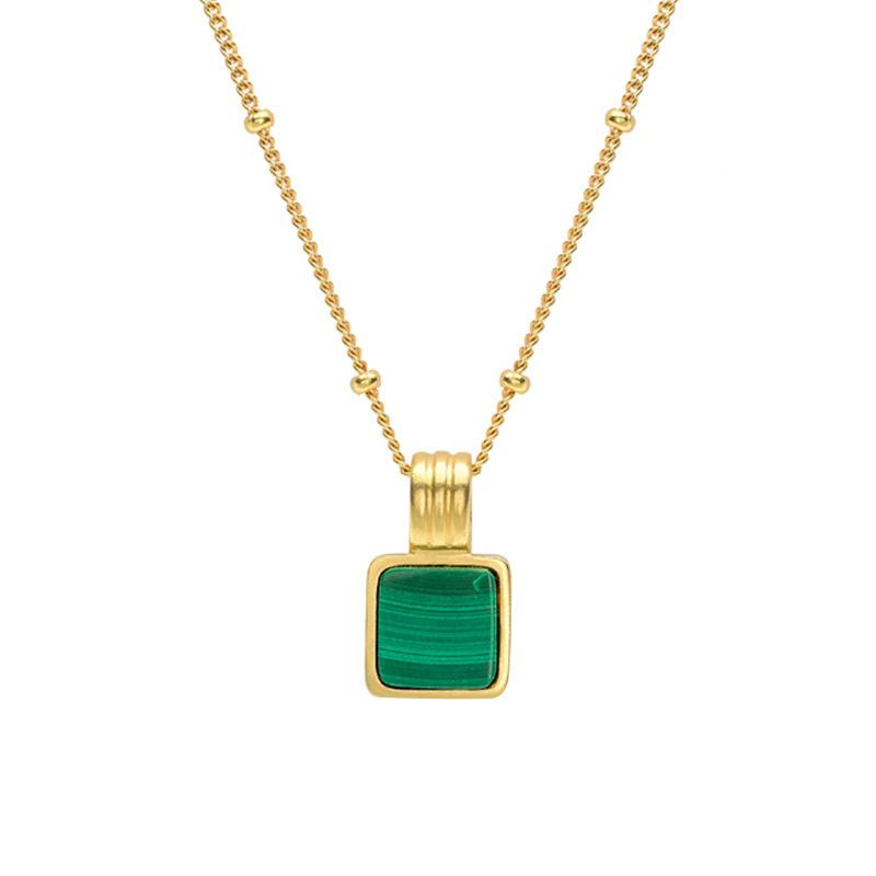 Silvology Square Square Green Malachite Collier Stripe Perle ronde Chaîne 925 Sterling Sterling Female Collier Élégant Bijoux Z1126