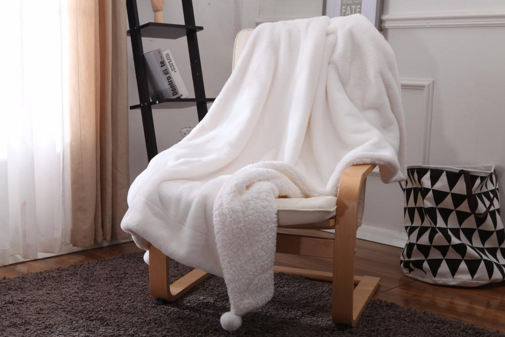 Зимняя мода толстая мягкая флисовая ткань для кроватей Теплый белый вязаный фланель путешествия одеяло розовый серый диван одеяла крышка бархата