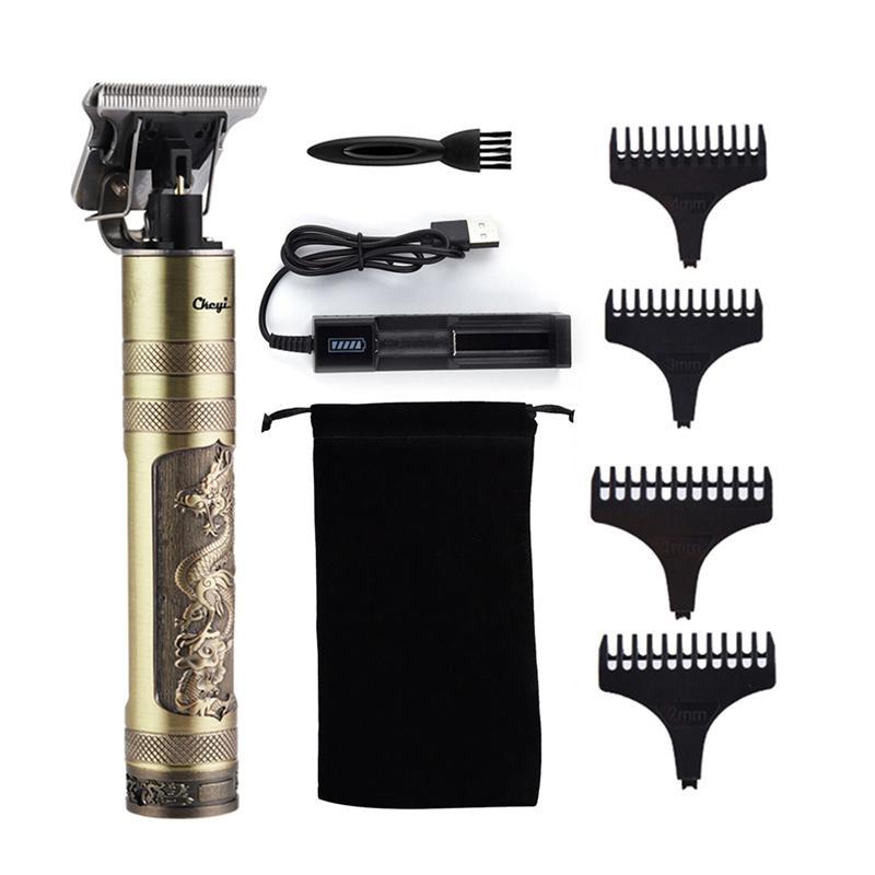 T9 cabelo trimmer barbeiro corte de cabelo recarregável cortador de cabelo sem fio homens máquina de corte de cabelo aparador 0mm barbeador de barbear