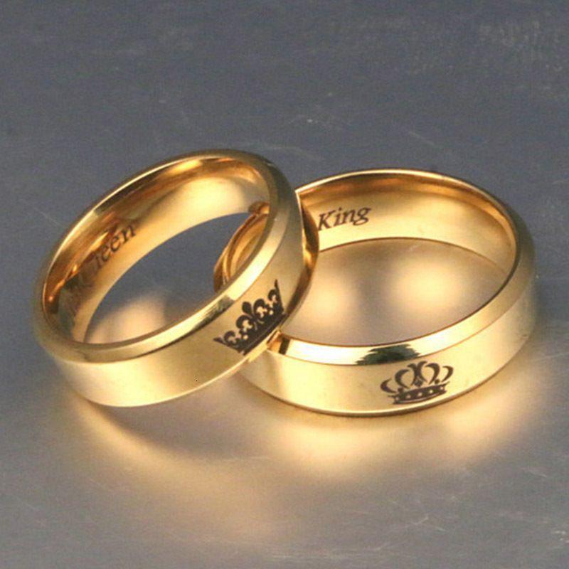 Farbe König und Königin Edelstahl Crown Paar Gold-Paare Lovers Love Promise Ringe für Männer Frauen