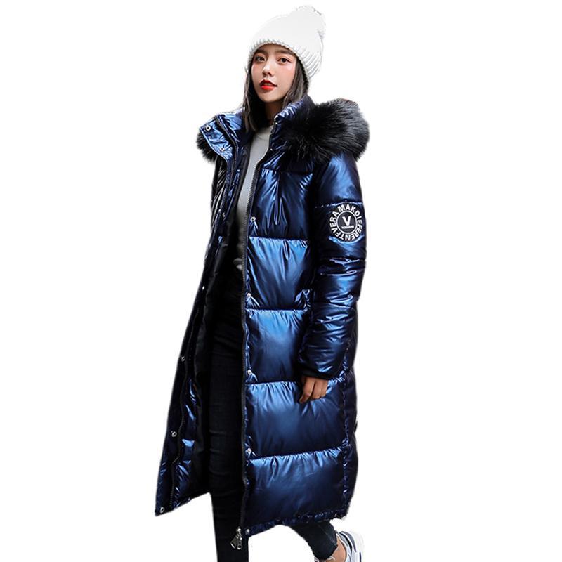 Frauen X-Long-Übergröße Blaue Daunenjacken dicke lässig mit Pelz Epaulet 2020 Winter weibliche Daunenmäntel mit Kapuze fest