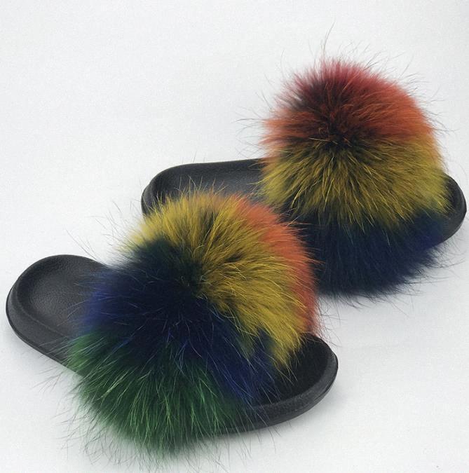 2021 zapatillas de pelo de zorro para mujer de piel de pieles a través de deslizadores esponjosos de peluche furry síh winter planos dulces damas zapatos de soplo tamaño 36-41 lindo pantufas 5odu9 #