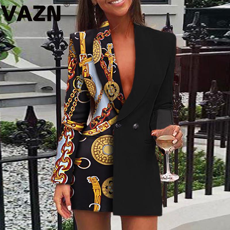 Vazn 2020 Bahar Yeni Upsurge Patchwork Vintage Seksi Olgun Düzensiz Stil Tam Kollu Kadınlar Vahşi Joker Ofis Uzun Blazer X1214