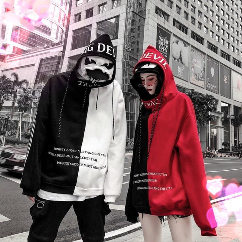Costura de calidad Doble tapa y mujer pareja sudaderas sudaderas para hombres Hood Harajuku High Flood Street Wear