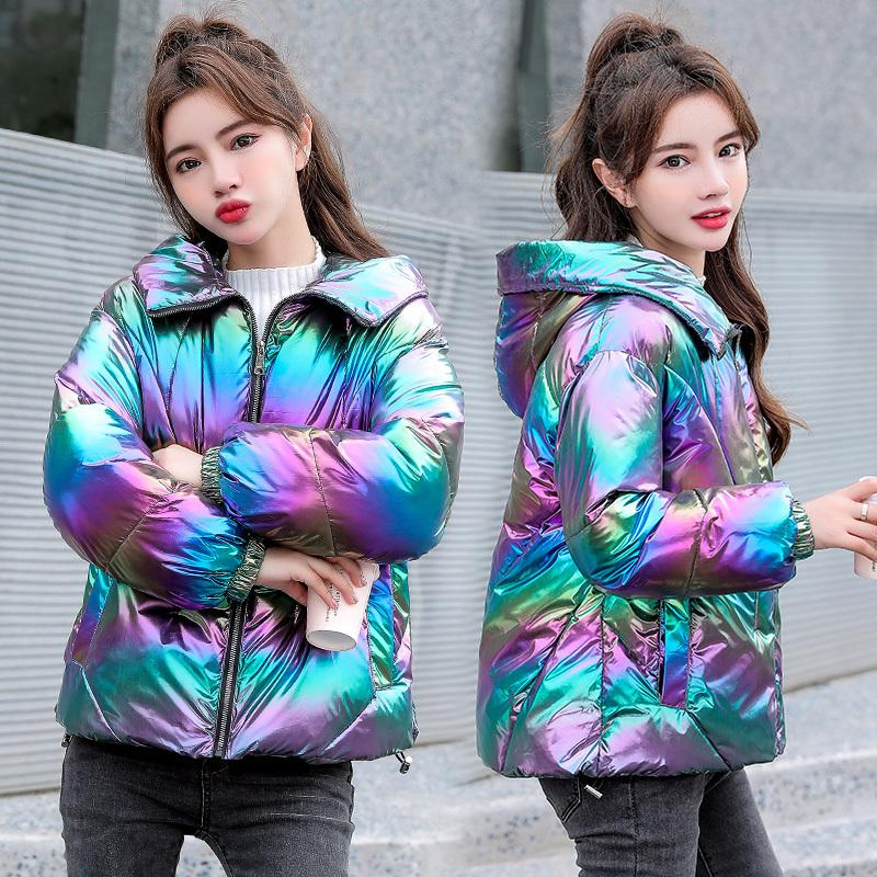 Women Winter Jacket Coats Hooded Tie dye Shiny Fabric Parkas Thick Warm Down Cotton jackets Zipper Padded Pocket Cold Outwear 210203