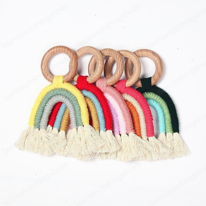 Nordic Wall Decor Woven Rainbow Kids Room Decoration Pendants Wood Crafts Wooden Ring Tassel Rainbow Hanging Ornaments
