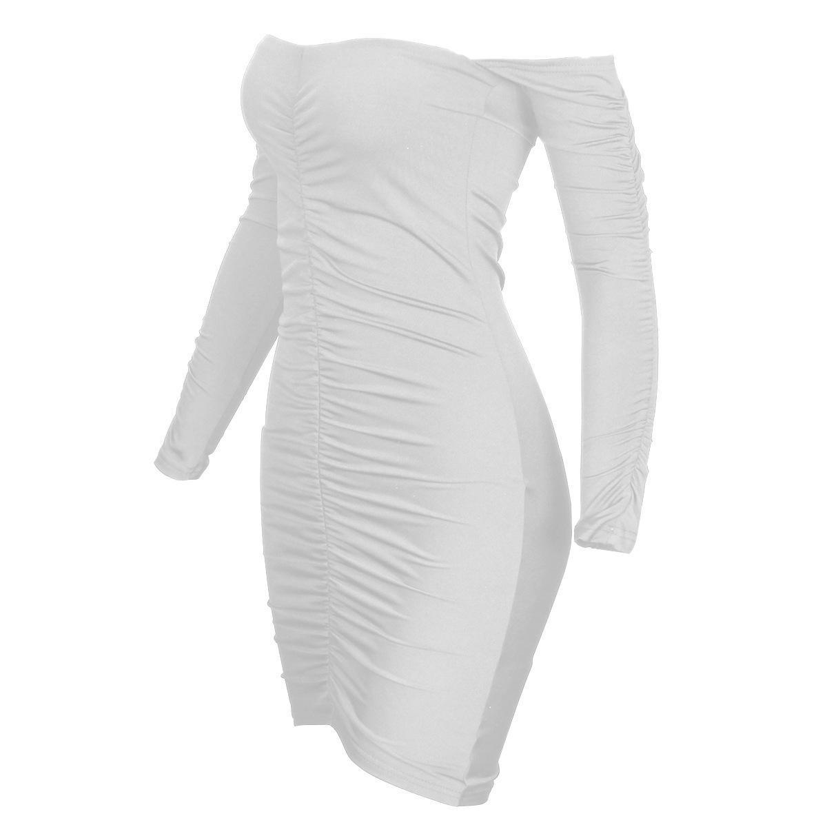 Женская мода Dresssexy Word воротник женское платье с длинным рукавом плиссированный мешок бедра юбка XL 7ve1q2xidd