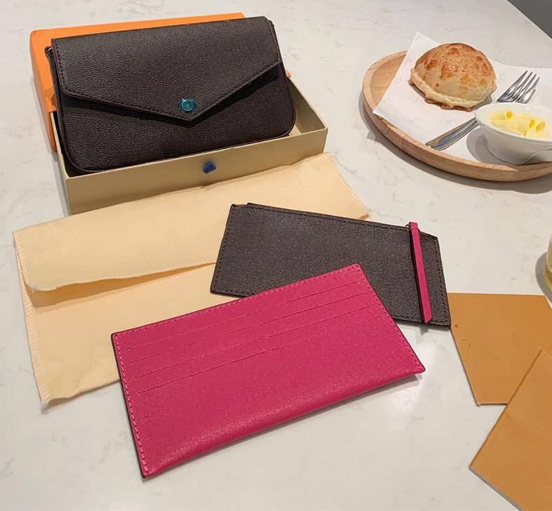 3 피스 지갑 가방 갈색 편지 꽃 가죽 패션 체인 어깨 핸드백 미니 카드 상자