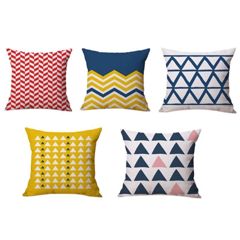 5 unids cojín cubierta geométrica funda de almohada campeón para niños Tiro decorativo Cubierta de almohada para sofá cama 45x45cm