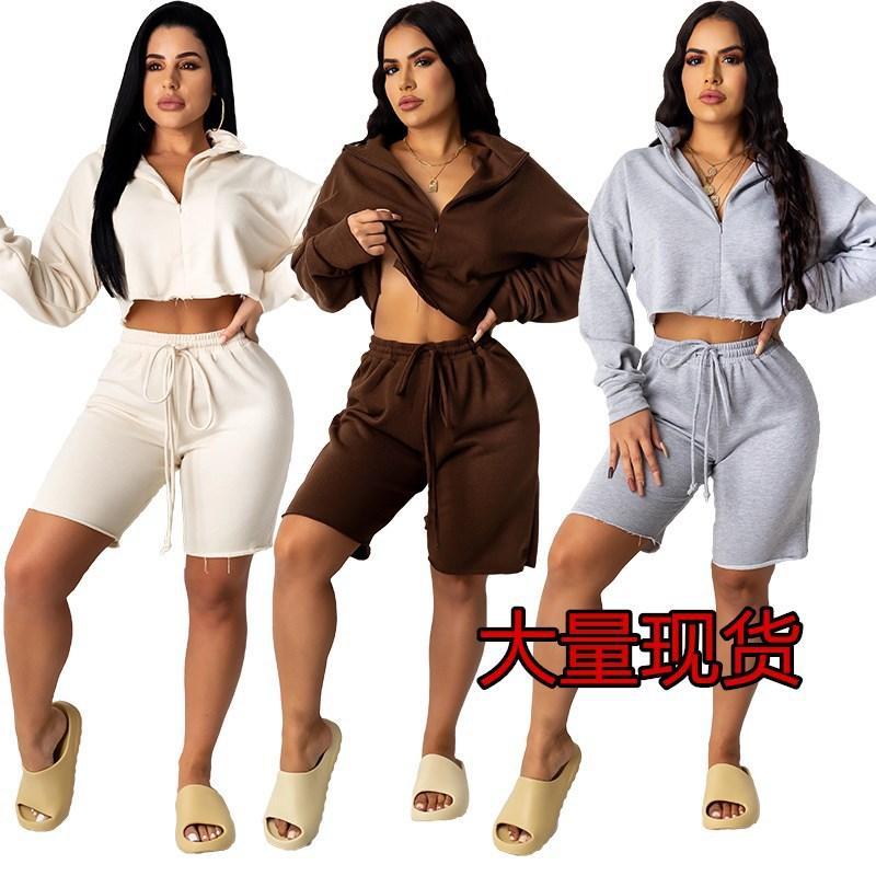 Spot Hot European E American Womens Abbigliamento Zipper Cardigan Stand Collar Solid Colour Sport Sport Sport e Tempo libero Suit