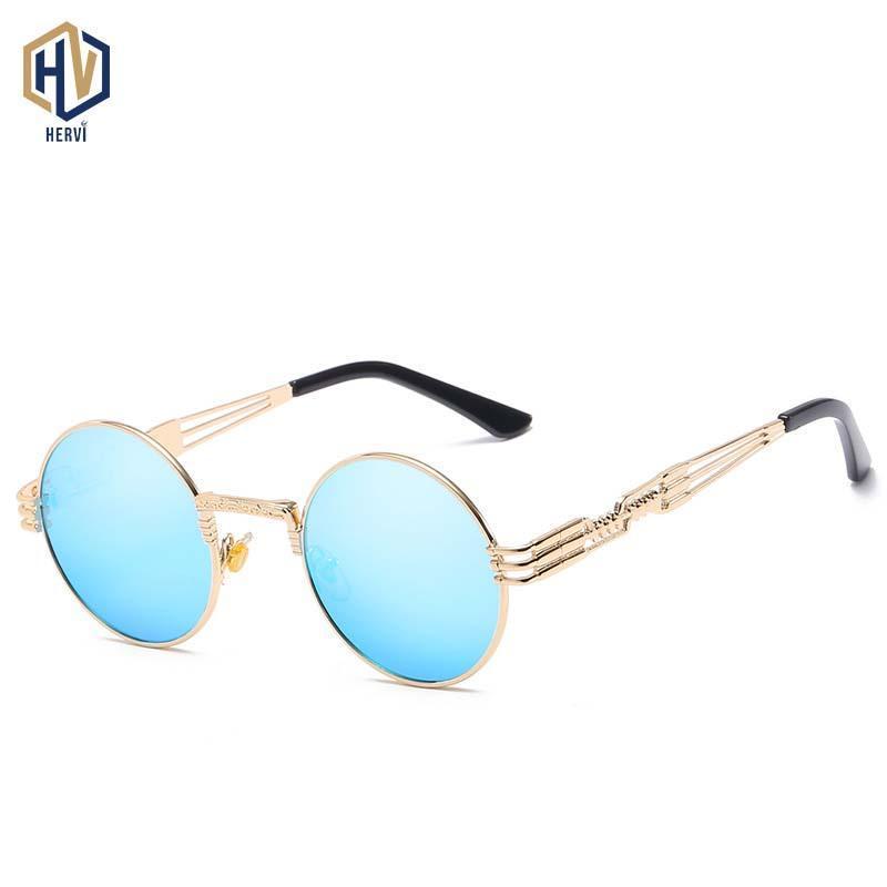 Металлические пары мода круглые очки женщины солнечные фотохромные весенние мужские очки панк солнцезащитные очки UV400 кадр FXRKQ