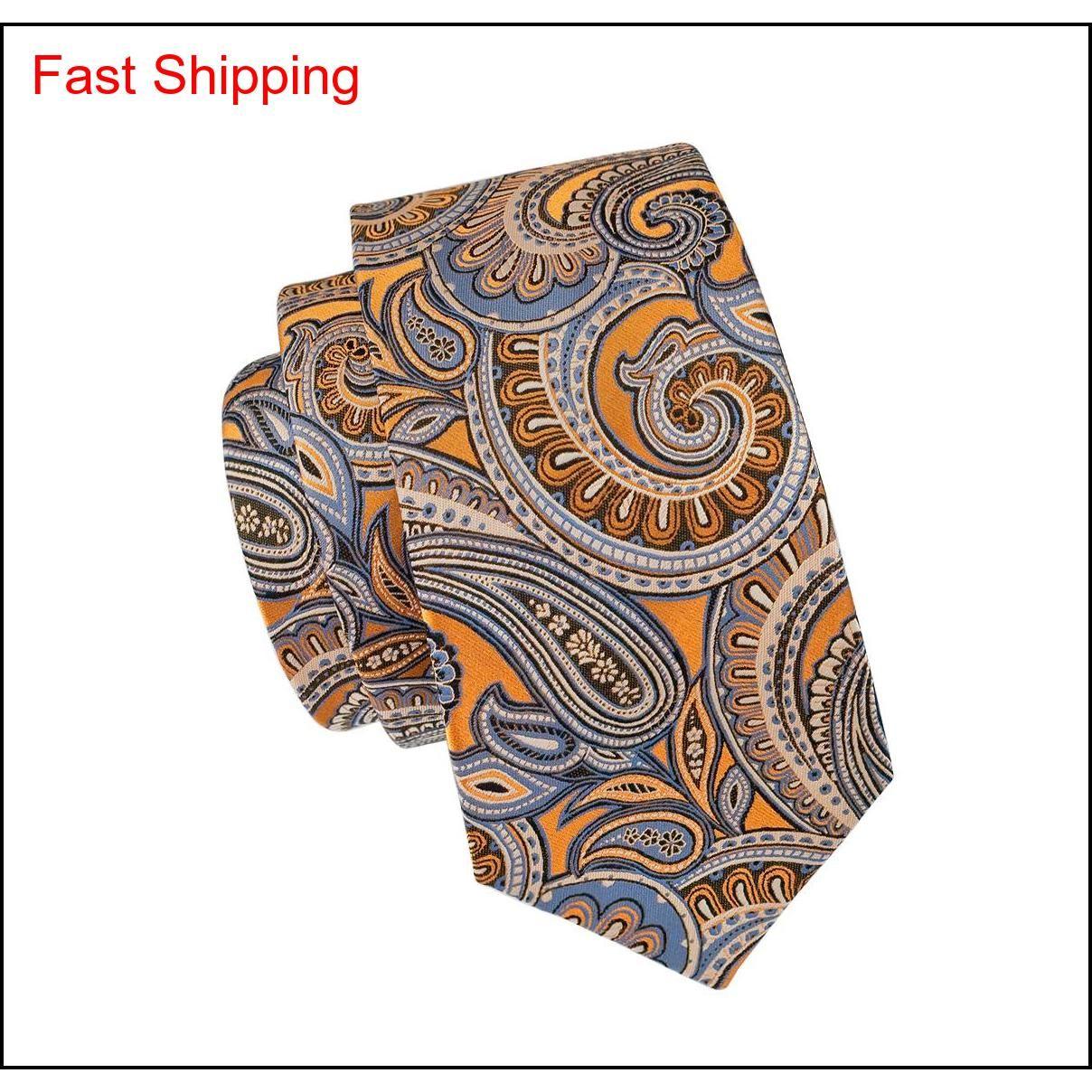 Classic Seta Ties Ties Paisley Tie Sets Orange Mens Cravatte cravatta Tie Hanky Gemelli Jacquard Meeting Affari Affari We Qylxpp Beauty888