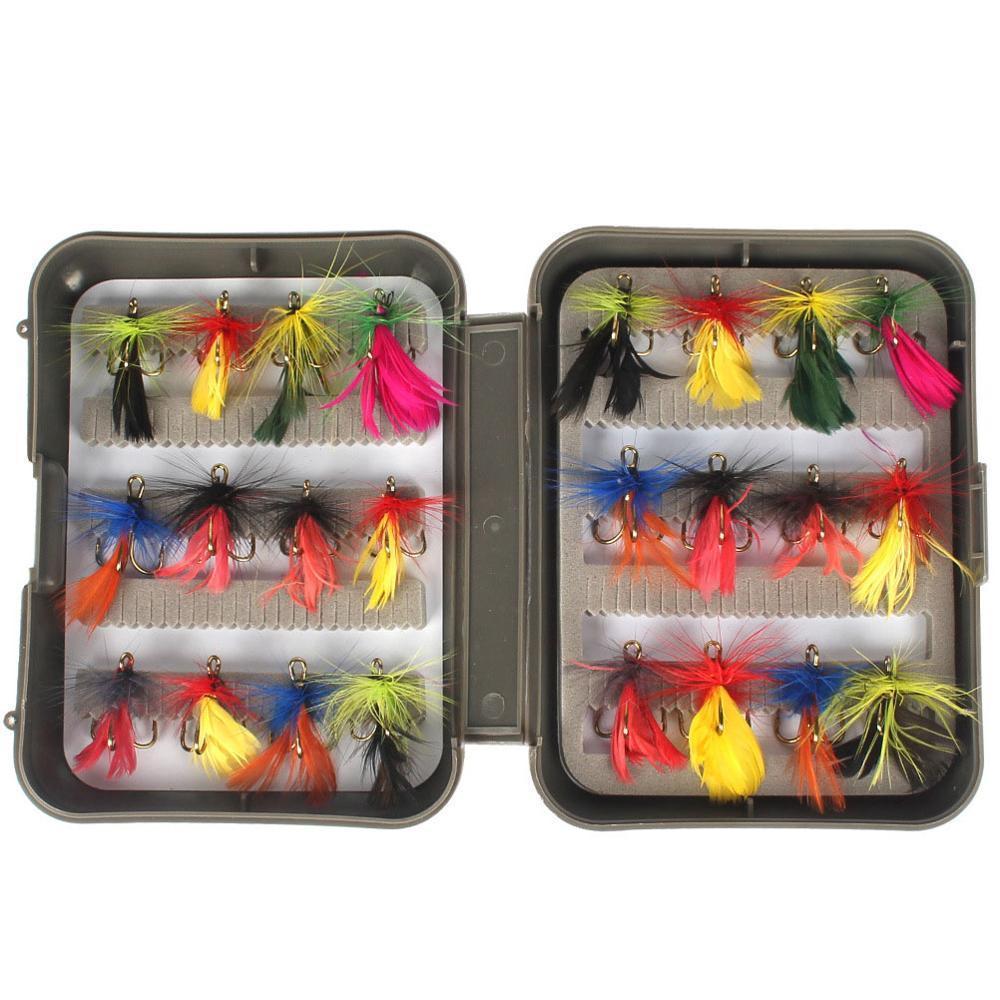 24pcs Bionic Fly Pêche Pêche Crochets Pêche Durable Accessoires de poisson Coffret Imperméable Faux d'appâts Ensemble d'appâts Insectes Équipement de pêche B1207