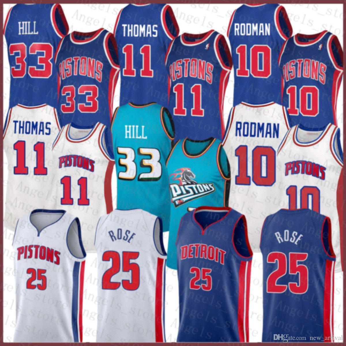 Derrick 25 Rose Isiah 11 Thomas Dennis 10 Rodman Grant 33 Hill DetroitPistão 2020 2021 New Basketball Jersey Brown