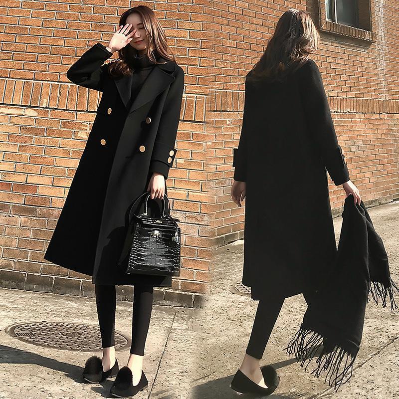 2020 Новая осень и зима Корейский свободные шерстяные пальто женская средняя длина черный Hepburn стиль шерстяное пальто все-матч мода
