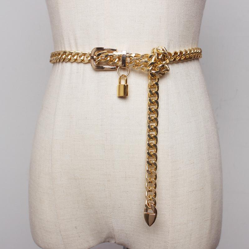 Золотая цепочка металлические блокировки ремни для кубинской женщины-слесает, серебряные панки одеты длинные талии Кеттинг смеется Cummerbunds