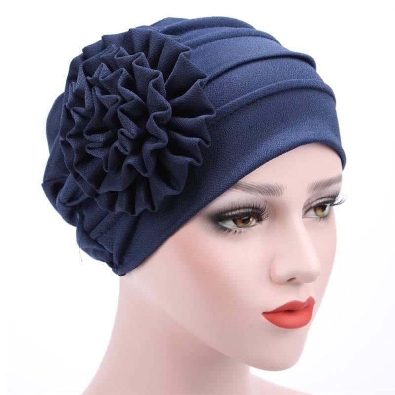 Frauen stilvolle Freizeit elegant reizender solider Baumwoll-Polyerter Big Blumenmuster Turban-Hut Chemo-Haar-Verlustkappenhaube