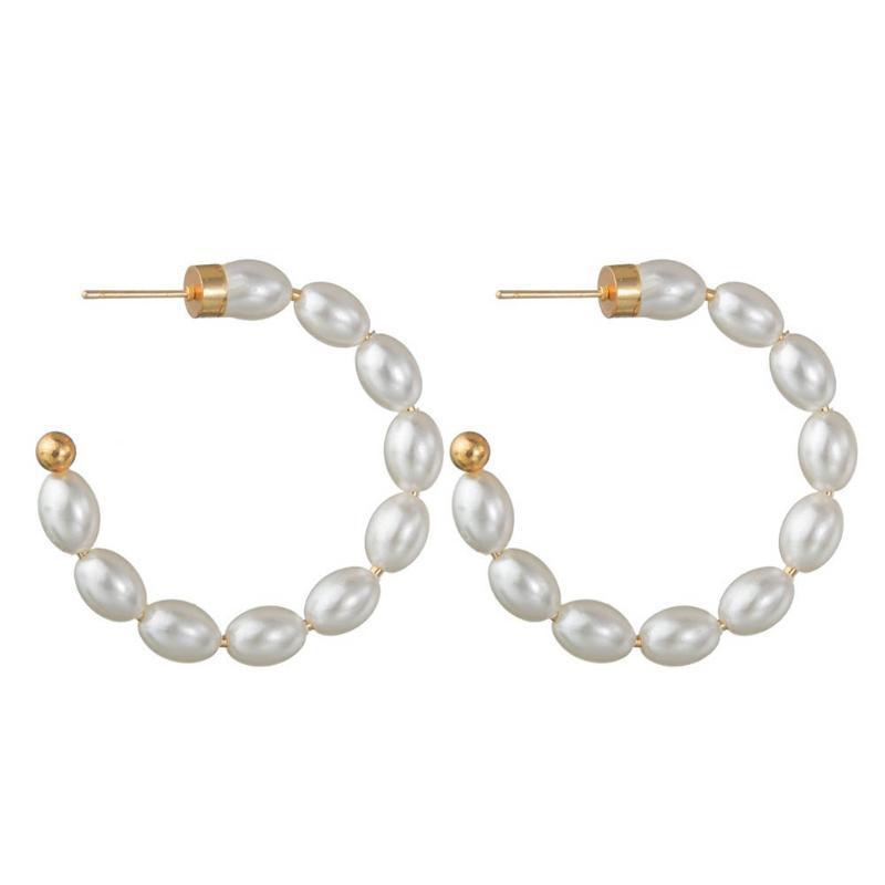 Pendientes de aro de perlas de imitación de media ronda elegante para mujer Boda 1 joyería de perlas simuladas Pendiente de círculo par