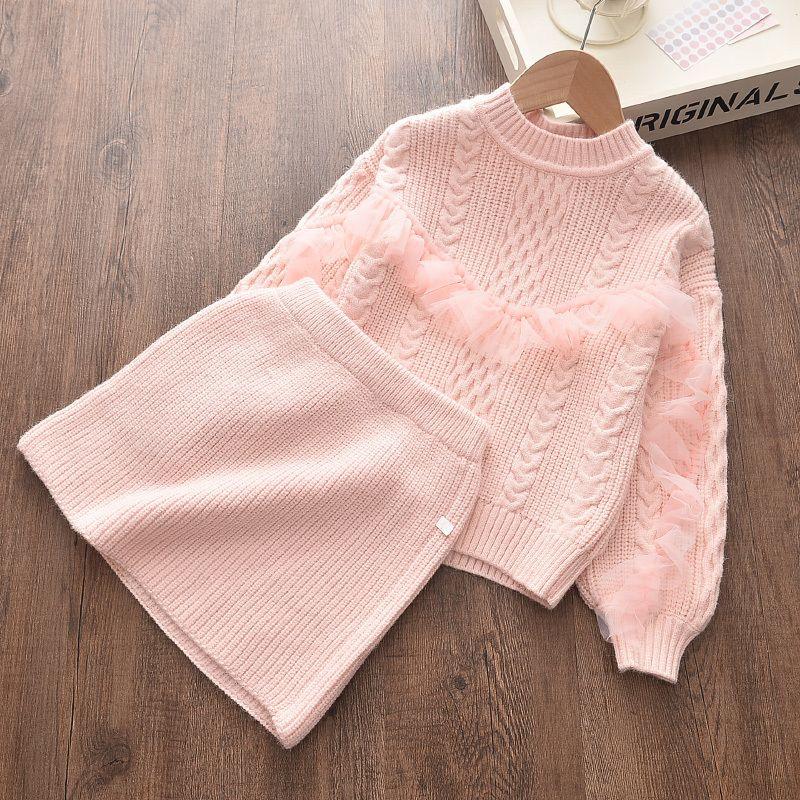 Meninoea crianças roupas de inverno bebê menina malha vestido quente outono meninas ruffled manga design de laço camisola vestido vestido vestido 201128