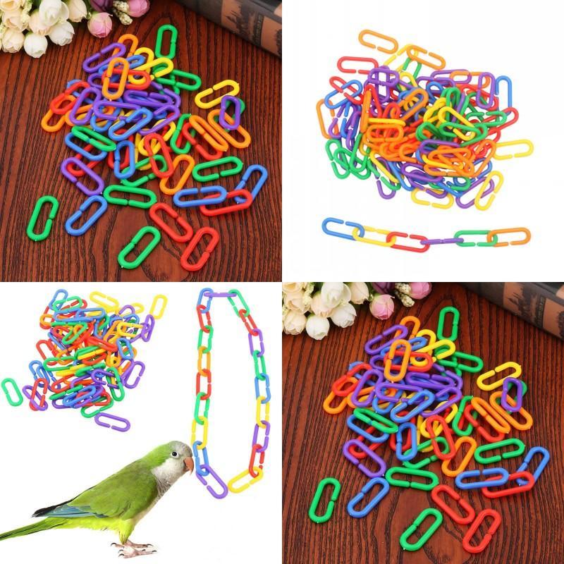Plastik Zincir Bağlantı Kuş Oyuncakları Renk Papağan Kuşlar Tipi C Kısa Oyunculuk Bir Paket 100 ADET Yeni Varış Çok Renkli 6 5JX J2