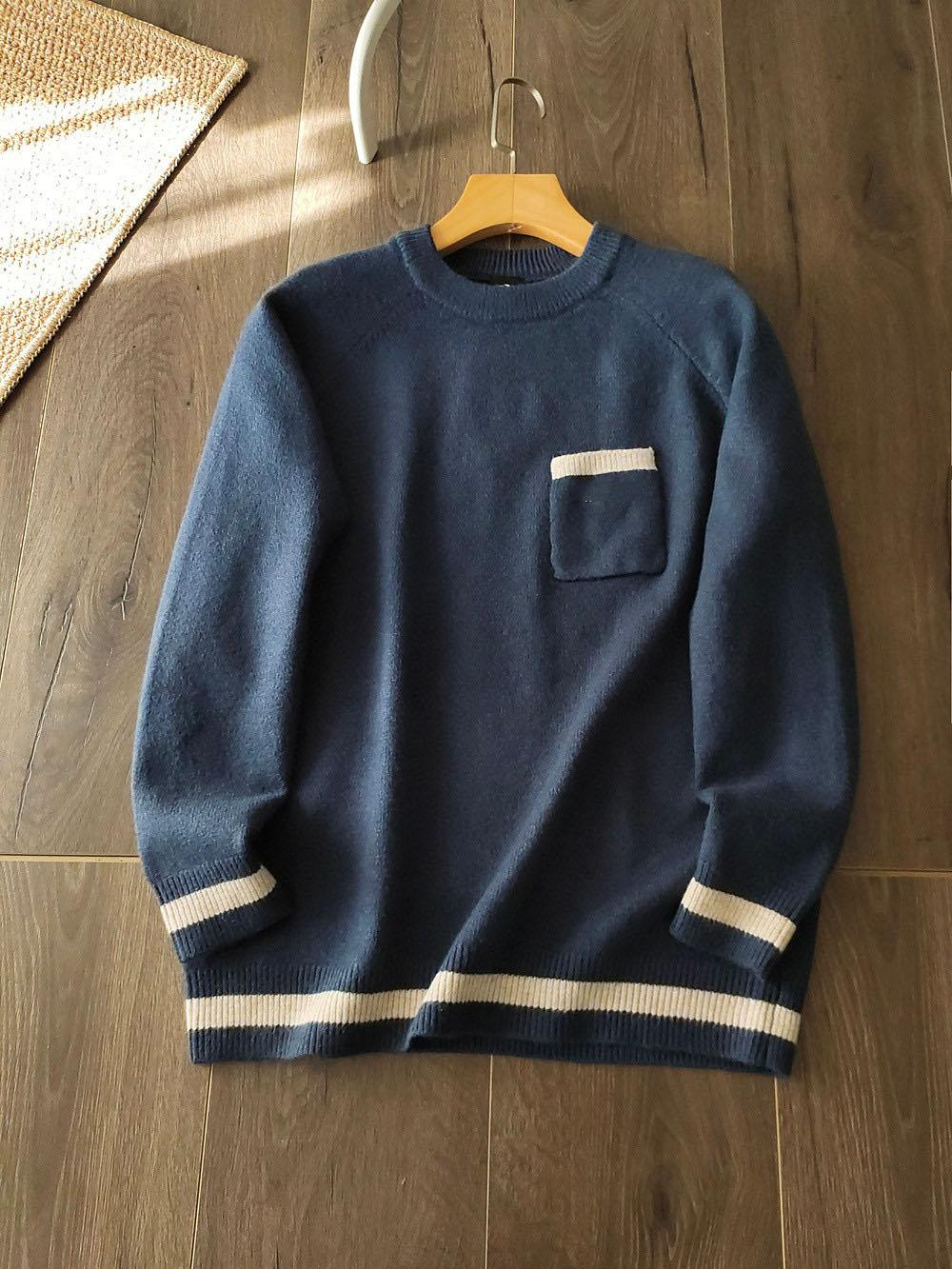 Mens Swater Winter Nouveau Stripe Couleur Fashion Streetwear Poche Pure Coton Pur Coton Couleur rond Sweatershirt