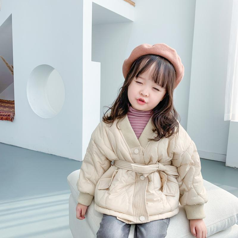 Casual Down Spring Winter Girl Boys Coat Jackets Warm Thicken Clothing Kids Cotton Long Sleeve Belt Home High Quality F1208