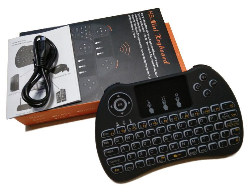 Clavier Blacklight Blacklight Wireless H9 Fly Fly Souris Multi-média Télécommande Touchpad Handheld pour Android TV