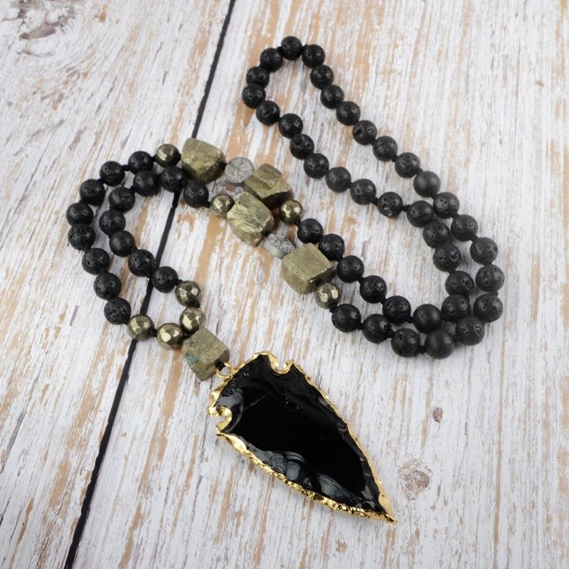 Siyah Obsidyen Kadınlar Kolye Çiğ Piritleri Yaldızlı Ok Başlığı Kolye Kolye Kız Boncuk Limery Kolye Dropshipping Y1119
