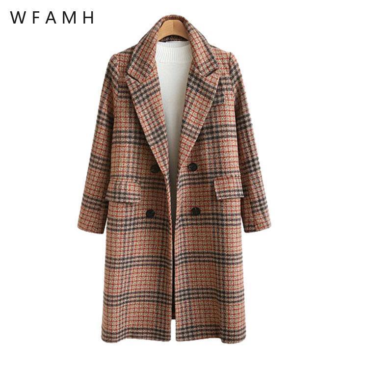Laine de femme mélange la gare européenne Vêtements d'automne et d'hiver de style britannique de grande taille Manteau de laine à carreaux en vrac