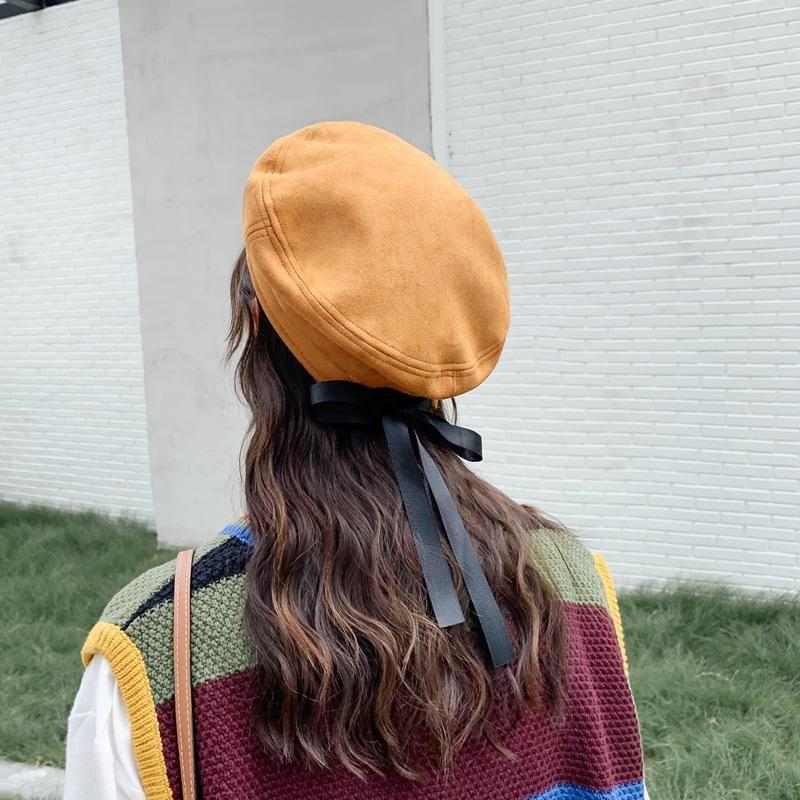 Frauen Weiche Bogen Elegante Barets Winter Warme Hut Harajuku Wildlederwolle Barett Hut mit Bowknot 2020 Neue Mode Frauen