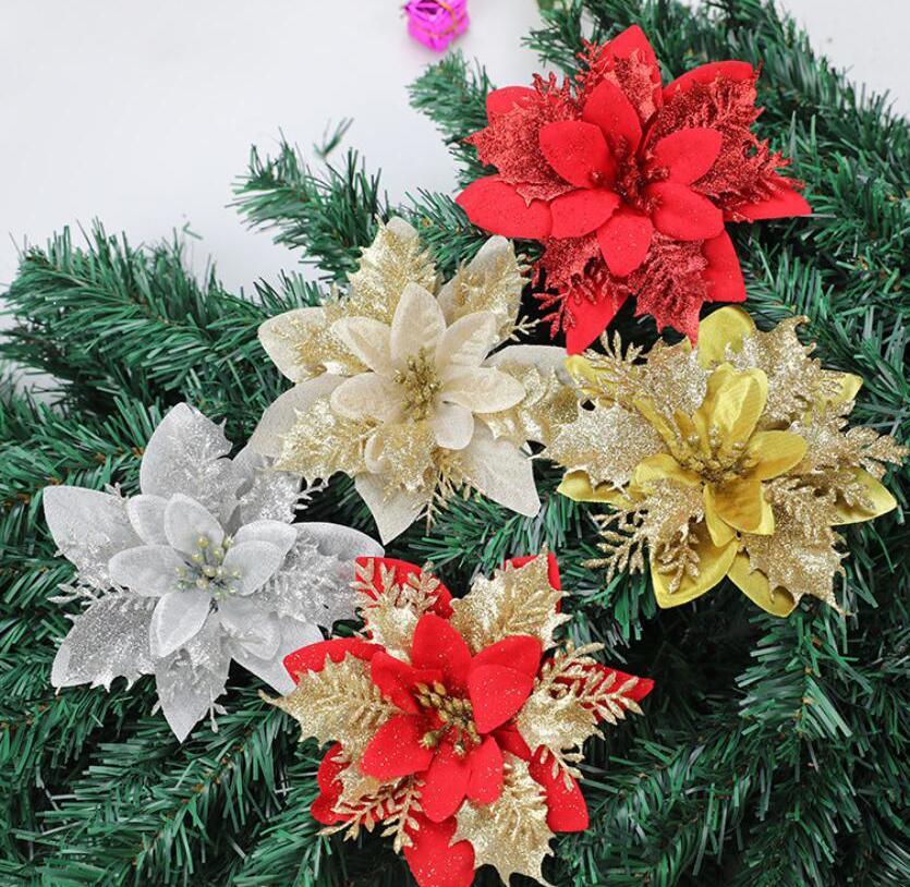 2020 glitter artificiali natale fiori natale decorazione albero di Natale fiori artificiali ornamenti di Natale ornamenti di nuovo anno decorazioni spedizione gratuita