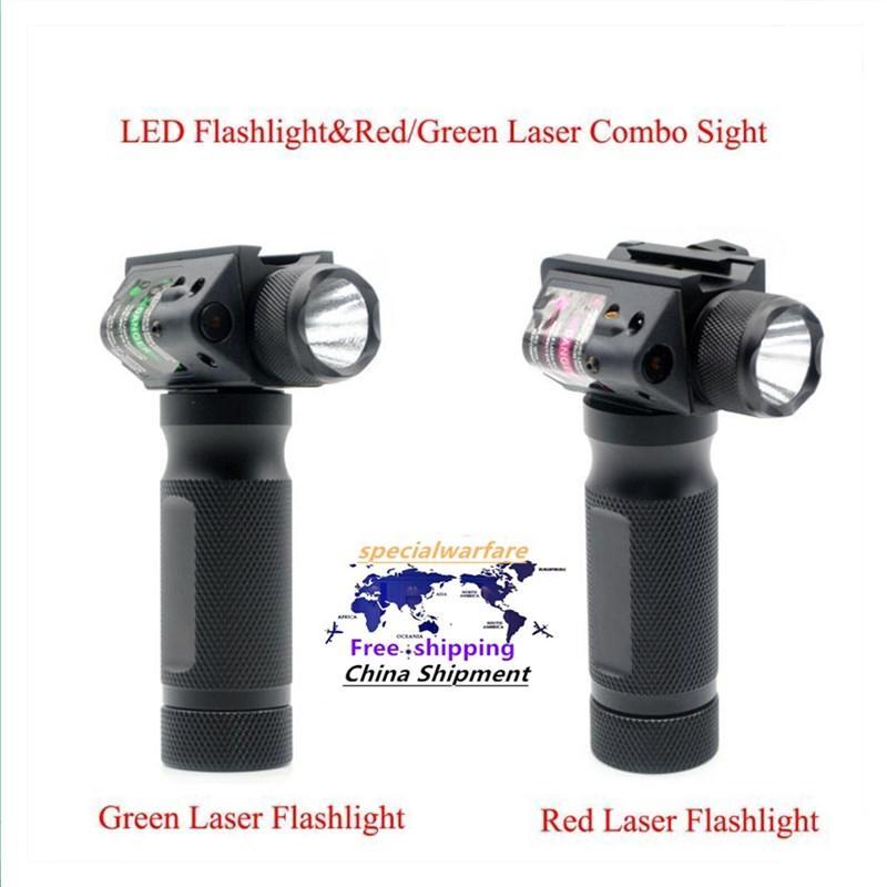 Taktische Jagd-LED-Taschenlampe rot / grün Laser-Combo-Anblick-taktischer Gun-Fackel für 20-mm-Picatinny-Schiene