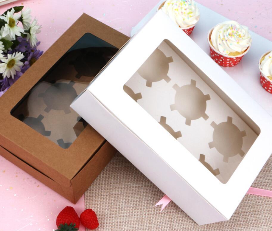 Cajas de cupcake de ventana Blanco Brown Kraft Caja de papel Embalaje de regalo para el festival de bodas Partido 6 taza de pastel Sqclka dh_seller2010