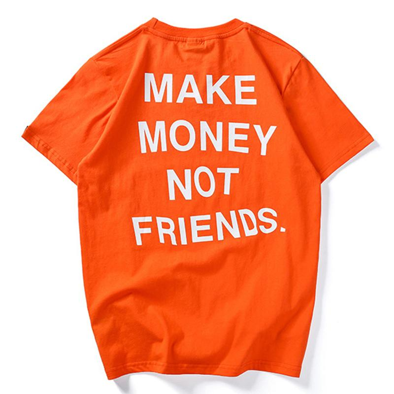 Moda Erkekler T-Shirt Yaz Tops Tees Hip Hop Mektup Baskı Erkek Tshirt Erkek Pamuk Kısa Kollu Para Değil Arkadaşlar HH160 X1214